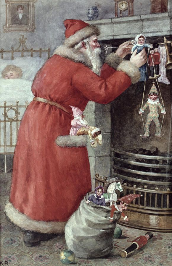 Father Christmas Painting by Karl Roger - Father Christmas Fine Art Prints and Posters for Sale