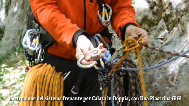 Allestimento di discesa in corda doppia