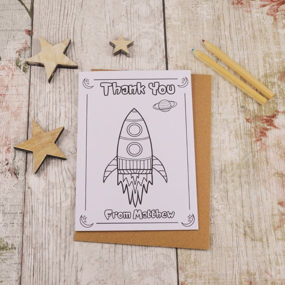 Rocket Colouring in Thank You Card Children's by MakeWithMum