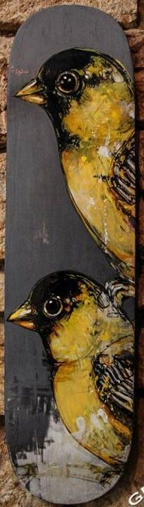 """'Goldfinches' Original Skateboard Deck Artwork by Jan Duschen *one of a kind hand painted deck Decks is approx 8.5"""" x 31""""  *note this deck is currently showing at Eronel 285 Main St. Dubuque, IA in The Dark Slide Fall Skate Art Show until Nov. 28th and will not ship until that time."""