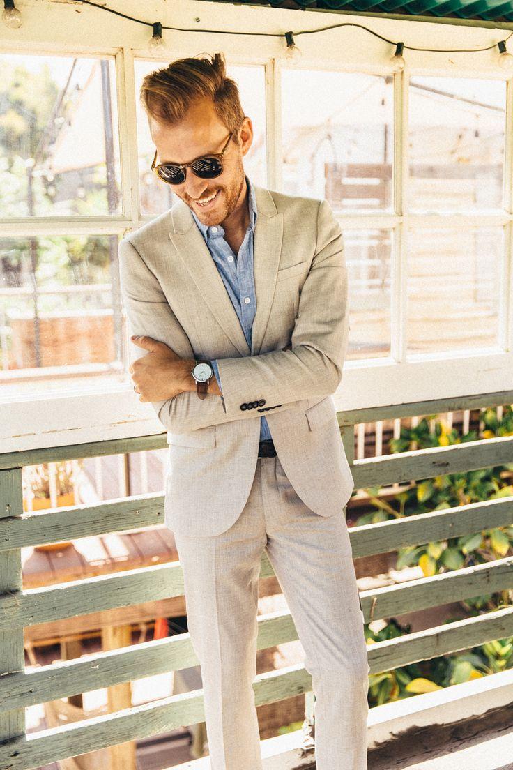 Khaki suit + light blue dress shirt
