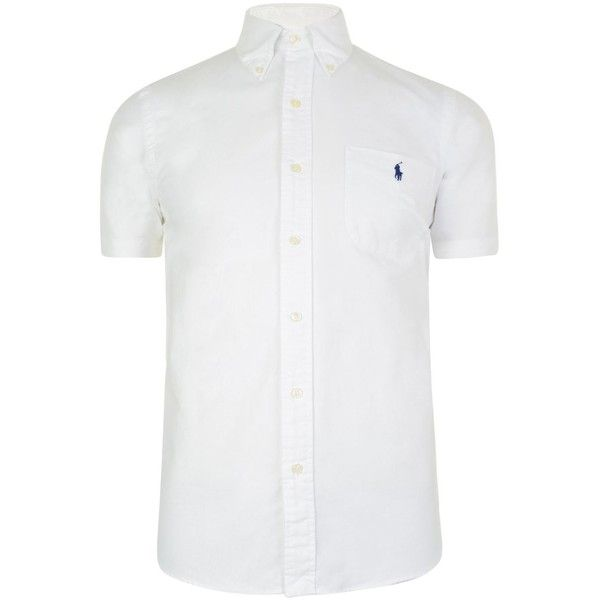 POLO RALPH LAUREN Custom Oxford Shirt (2 465 UAH) ❤ liked on Polyvore featuring tops, white top, short sleeve oxford shirt, short sleeve tops, white oxford shirt and oxford shirt