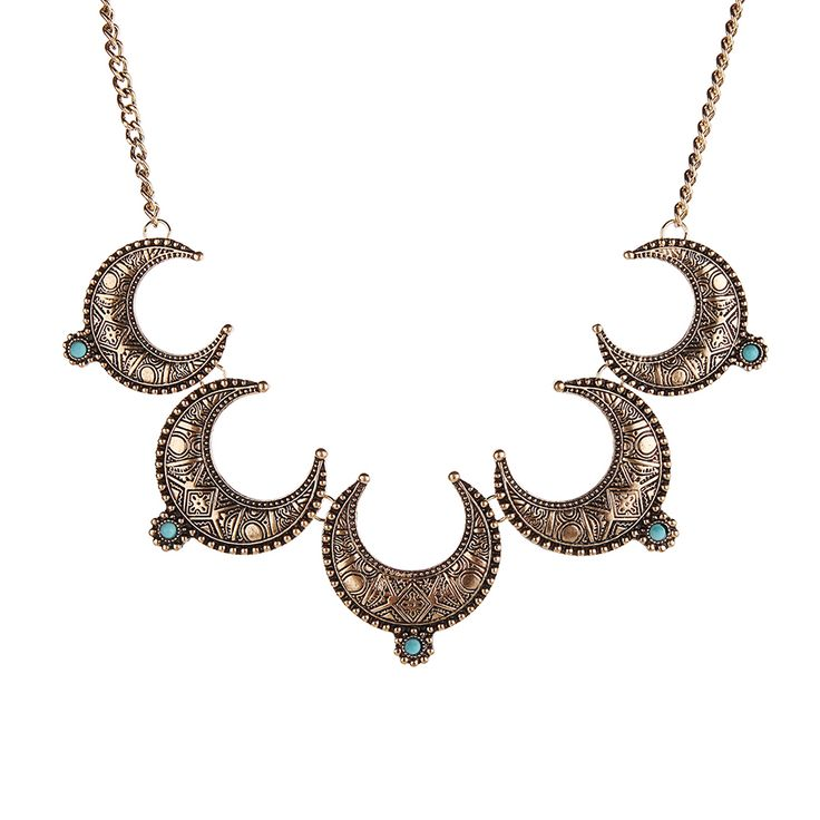 Vintage Moon necklace Pendant Choker Necklace For Women Gold Silver Religion Chain 2016 Fashion Jewelry Collier 16028