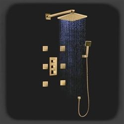Fontana Versilia Gold Finish Color Changing Led Shower Head with Adjustable Body Jets and Mixerbrass color changing LED rain shower head with solid brass mixer and adjustable body jets.