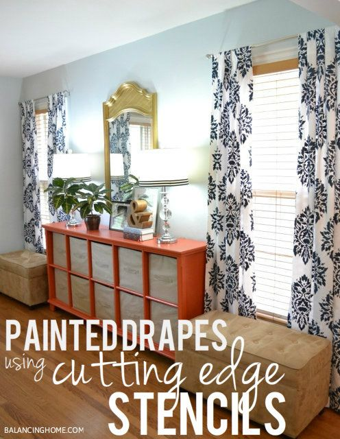 Stenciled Drapes using @CEStencils. Affordable way to take cheap Walmart drapes from Blah to WOW!Diy Ideas, Decor, Living Room Ideas, Stencils Drapes, Diy Stencils, Diy Curtains, Cut Edging Stencils, Diy Projects, Diycurtains
