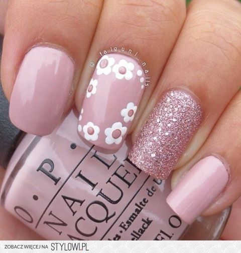 Pink floral maniPink Flower, White Flower, Nails Art, Nails Design, Flower Nails, Pink Nails, Pastel Pink, Pale Pink, Nails Ideas