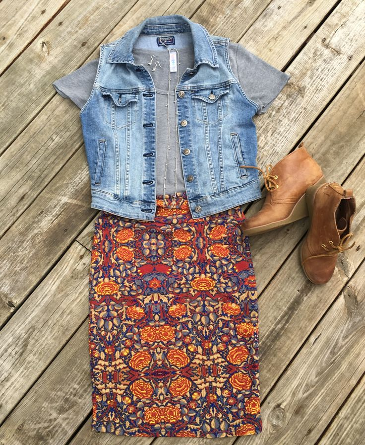 LuLaRoe Cassie skirt paired with a Classic T and jean vest. Super cute fall outfit.Flat Lays by Devin Leigh. #devinsleggings #lularoewithdevinleigh