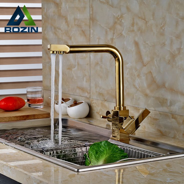 $68.40 | Buy 2016 New Golden Pure Water Kitchen Faucet 3 Way Double Function Filler Kitchen Faucet Three Way Tap For Water Filter from Reliable faucet mixer tap suppliers on rozin Official Store