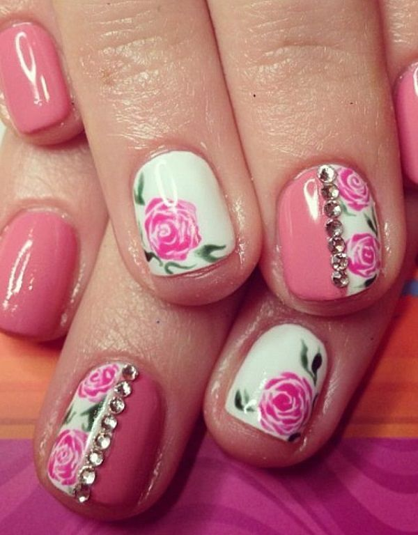 U as decoradas de rosa pink nail art art nails - Decoracion de unas colombianas ...