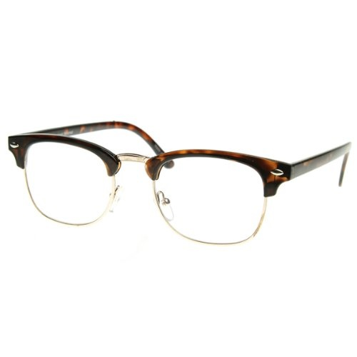 Classic clubmaster half frame that features clear lenses for a sharp sophisticated look. An iconic frame that will have you looking fashionable in any situation. Frame is made with tortoise shell acetate brow and arms, metal wire lens lining and metal nose bridge. Also made with metal hinges, English style nose pieces and clear UV protected lenses.