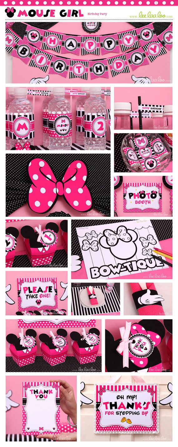 Mouse Girl Birthday Party Package Collection Set by happyDIYparty