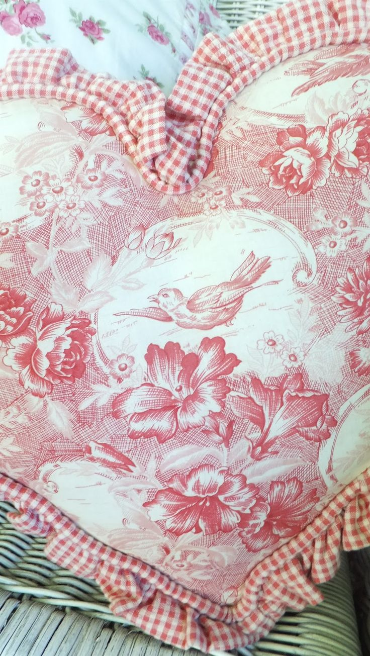 Darling pink toile heart trimmed  with pink gingham.