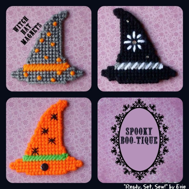 """Plastic Canvas: Spooky Boo-Tique -- Fashion Witch Hats (closeup of 3 styles. . .many from """"witch"""" to choose!), """"Ready, Set, Sew!"""" by Evie"""