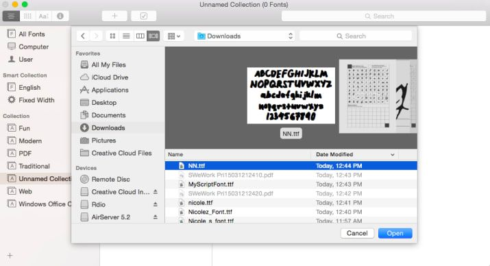 In Mac OS X, open Font Book then File > Add Fonts (or command + O). In Windows, click Start > Control Panel > Appearance and Personalization > Fonts. Then click File > Install New Font.
