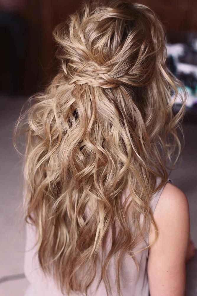 42 Boho Inspired Unique And Creative Wedding Hairstyles ❤ creative unique wedding hairstyles messy wavy half up half down with braids lenabogucharsk