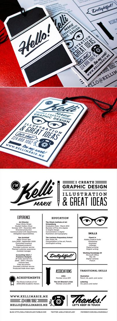Personal Stationary: Business Cards + Resume; Kelli Marie #design