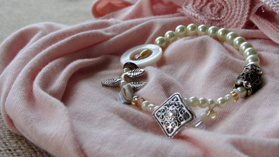 Ivory and Pink Pearl Bracelet by AmarisJewelry on Etsy, $7.00