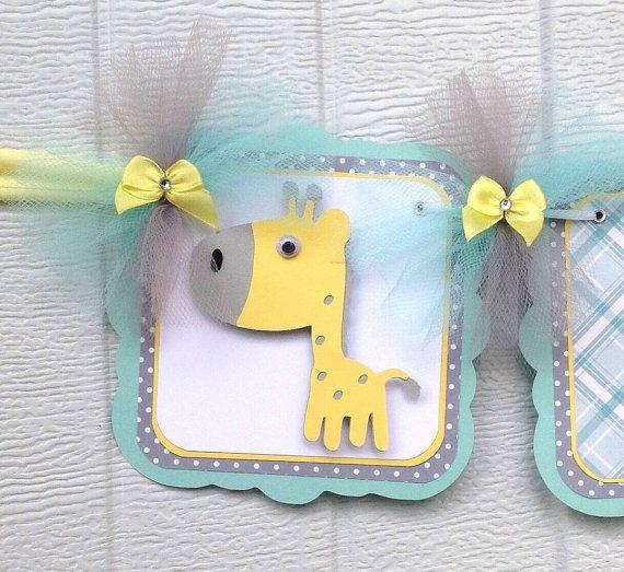 Giraffe banner, gender neutral baby shower, giraffe baby shower, teal, and yellow