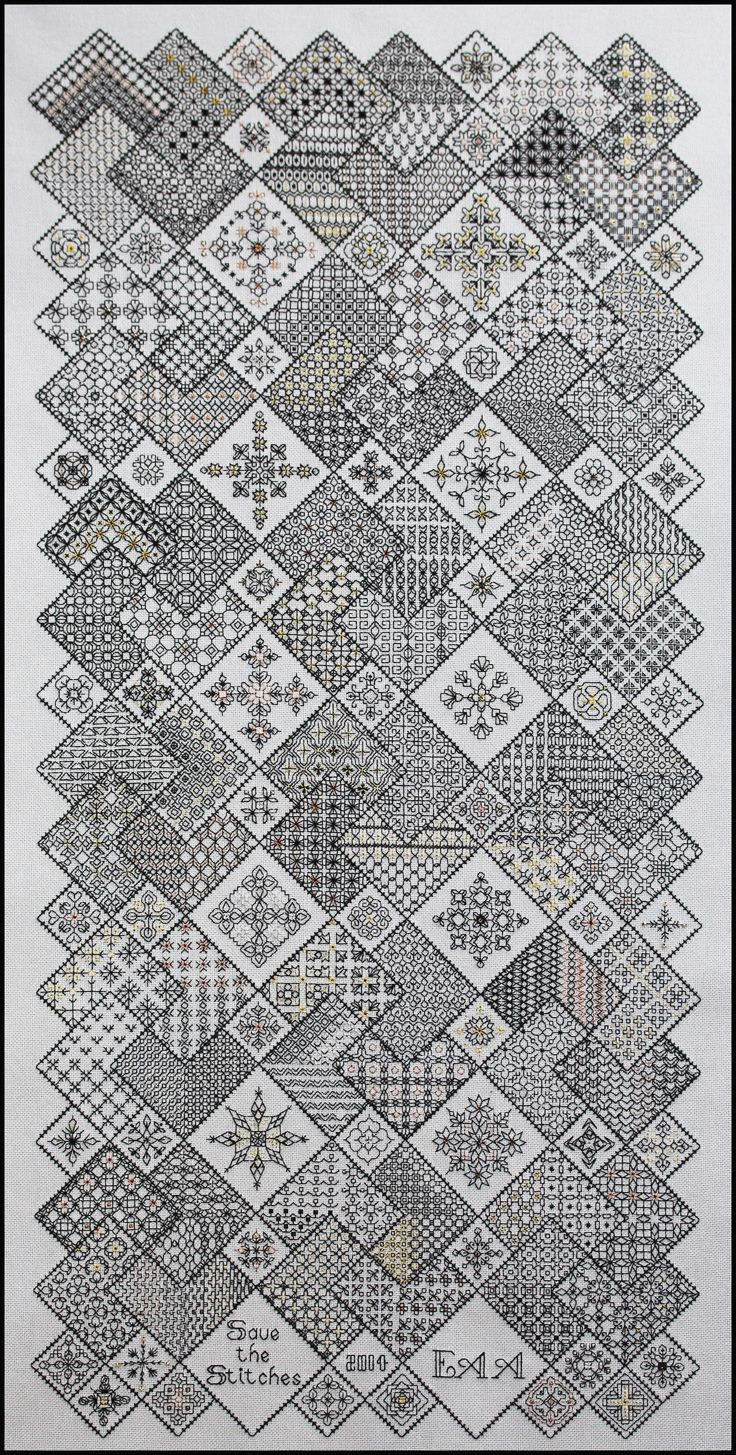 'Save the Stitches' complete! Blocks 1- 24 in Freebies www.blackworkjourney.co.uk See other peoples work on Pinterest Elizabeth Almond Save the Stitches www.blackworkjourney.co.uk