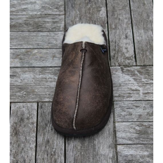 Shepherd's of Sweden Hugo Oiled Antique Slippers £55. Handcrafted from 100% genuine sheepskin. Worldwide Shipping Available.
