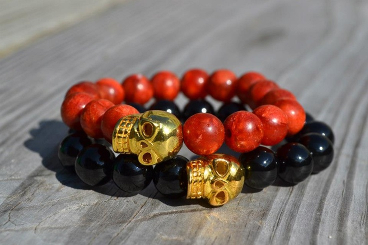Perlas de Ágata Rojo-Naranja / Negro  Calavera Dorada