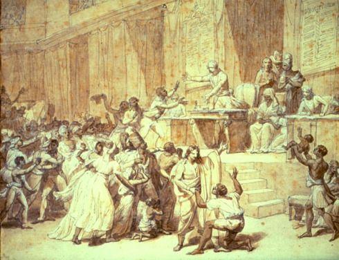 « L'abolition de l'esclavage proclamée par la Convention montagnarde le 16 pluviôse an II-4 février 1794 ». Esquisse à la plume et au lavis avec rehauts à la gouache (H. 0,260, L. 0,333). Musée Carnavalet, Paris. Quelques jours après ce vote historique, la Société républicaine des Arts, qui réunissait les artistes de Paris, décida de le commémorer. L'esquisse a été attribuée par erreur à Nicolas Monsiau alors qu'il s'agirait de Charles Thévenin. Voir le catalogue de l'exposition Droits de…