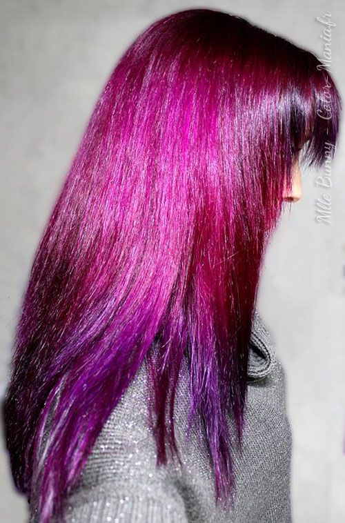 mllebunny coloration cheveux dgrad du rose cerise au violet directions - Coloration Violet Permanente