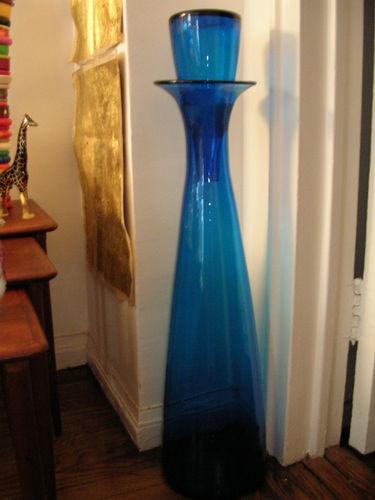 Blenko Large Floor Bottle Decanter Peacock Blue Stopper