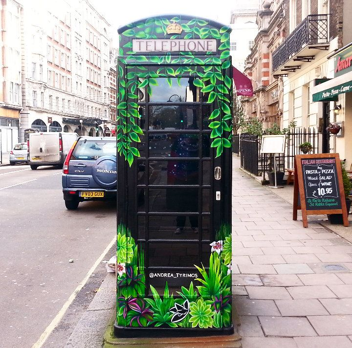 Andrea Tyrimos art on phone box in Bloomsbury London