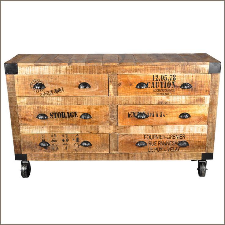Industrial Rustic Hardwood 6 Drawer Bedroom Jewelry Vanity Dresser Cart on Wheel | Home & Garden, Kids & Teens at Home, Furniture | eBay!