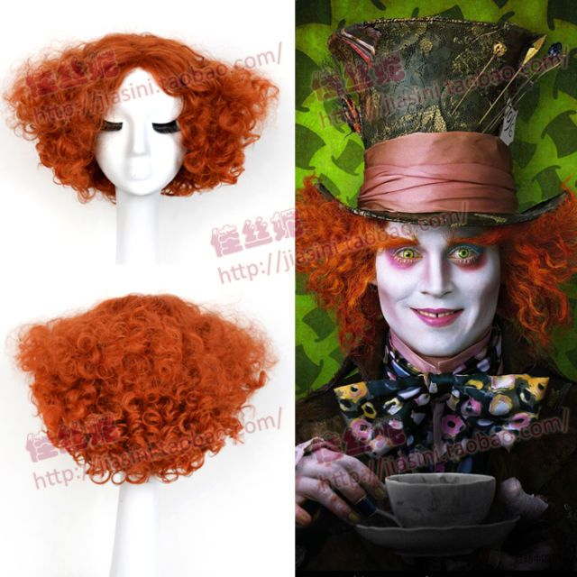 Alice Mad Hatter Party Hair Short Curly Orange Color Men Movie Cosplay Wig in…