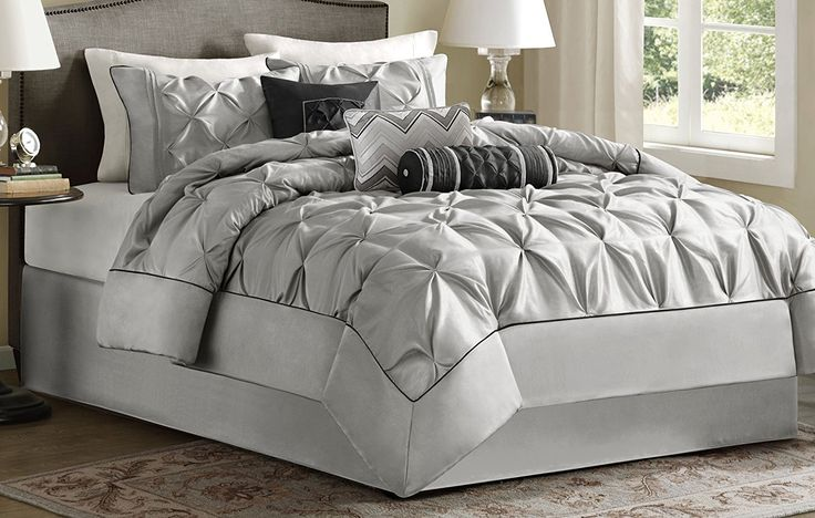 Grey Bedding and Matching Curtains -  Madison Park Laurel Comforter Set, Queen, Grey at luxcomfybedding.com