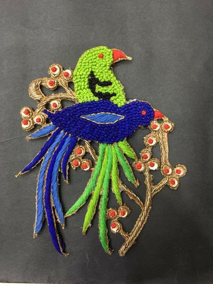 Blue green parrots