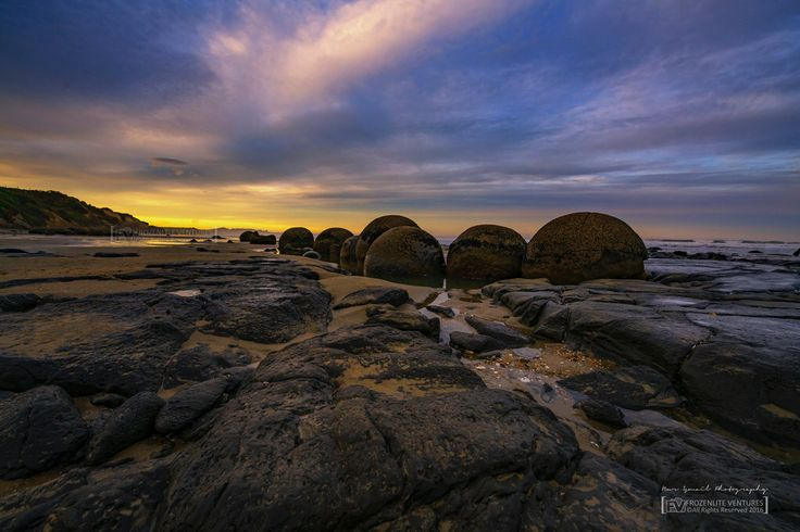Sunset at Moeraki Boulders, Hamden, Otago