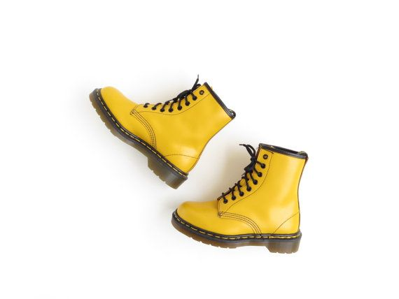 Yellow Dr Martens Boots Doc Martens Boot 90s Soft Grunge Ankle Boots Cyber Punk Vaporwave Aesthetic Tumblr Women's Size US 6, EU 36.5, UK 4