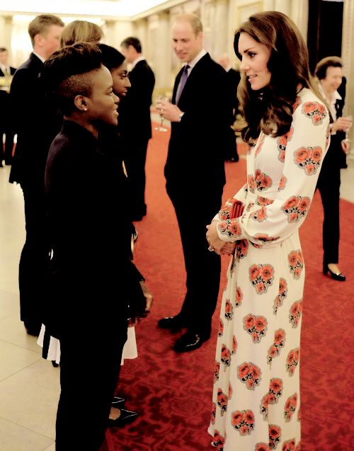 "flawlesscatherine: ""  Kensington Palace ‏@KensingtonRoyal: The Duchess chats with @TeamGB Olympic Champion @NicolaAdamsMBE at tonight's #GBHeroesLDN reception. """