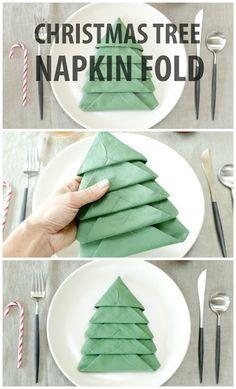 DIY Christmas Tree Napkin Fold More