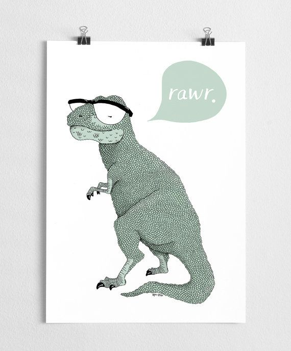 A super cute hipster t-rex illustration with glasses. The original was made with think marker pens.   High quality print made on 250g fine paper