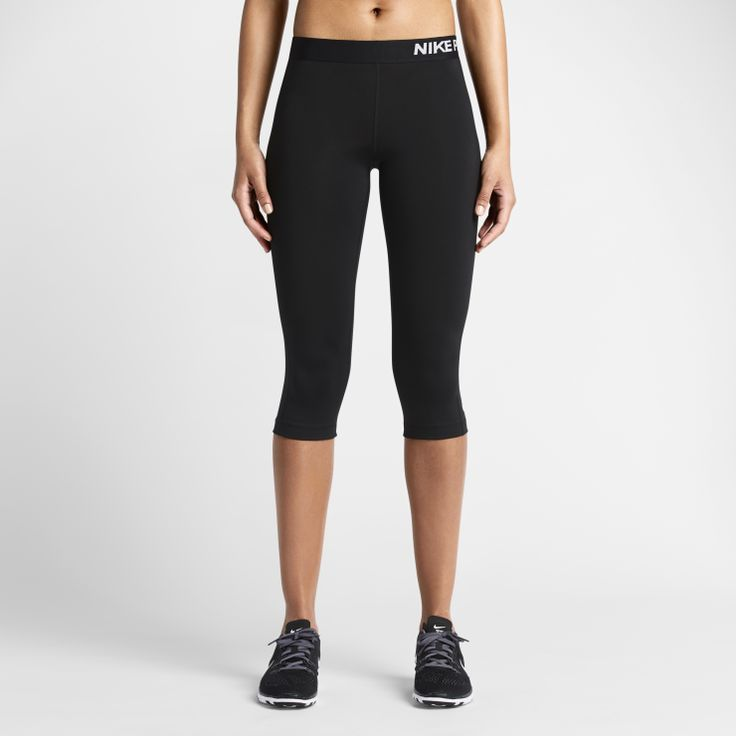 Nike Pro Capri - COMFORT, SUPPORT AND ENHANCED COVERAGE The Nike Pro Core Compression Women'sCapri are made with sweat-wicking stretch fabric for a comfortable fit and locked-in feel during intense competition. A lined gusset and ergonomic seams offer enhanced range of motion at practice and under the game-day uniform. Benefits  Dri-FIT fabric to wick sweat awayand help keep you dry and comfortable Elastic waistband for a snug, comfortable fit Lined gusset and ergonomic sea...