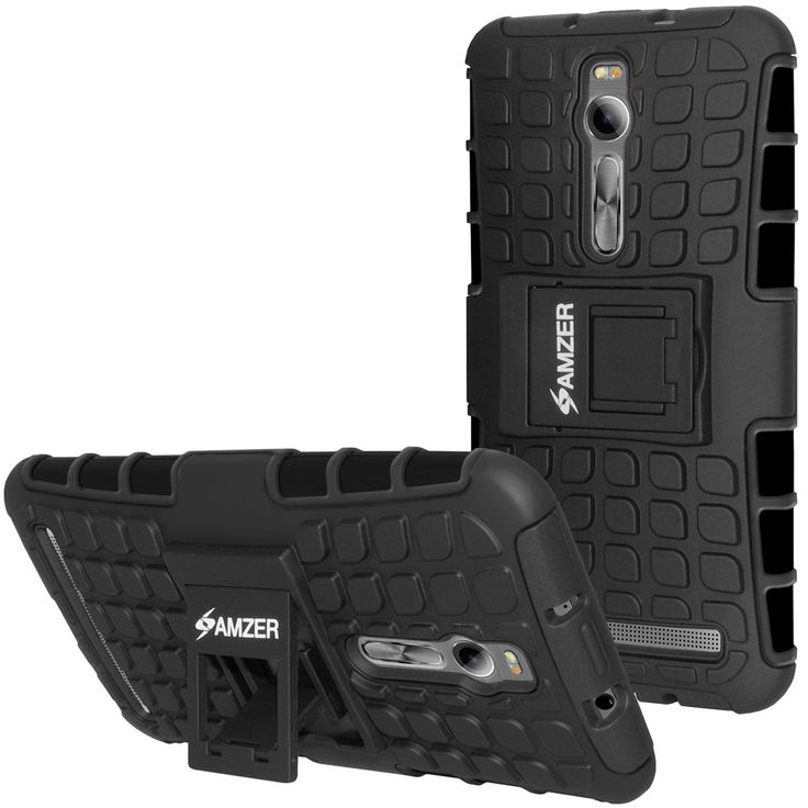 Amzer® Hybrid Warrior Case - Black/ Black for Asus Zenfone 2