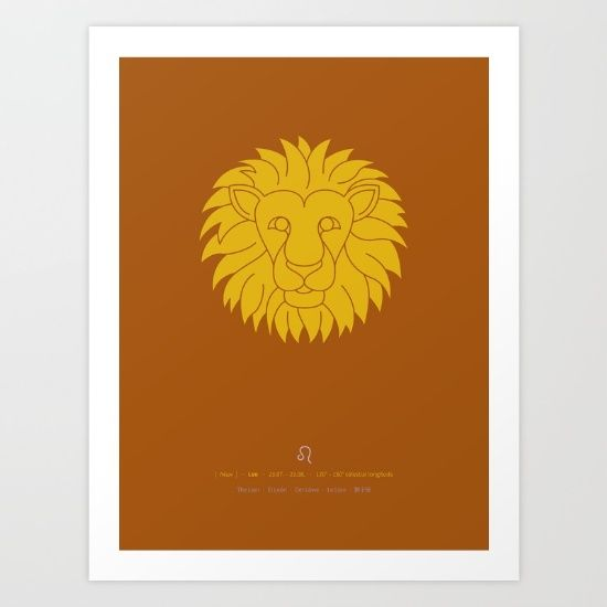 Stylized leo star sign (lion) in yellow on rust-red background. <br/> <br/> The composition of this Sign of zodiac includes date (duration), celestial longitude, astrological symbol and Greek, English, Spanish, German, French and Chinese translations.