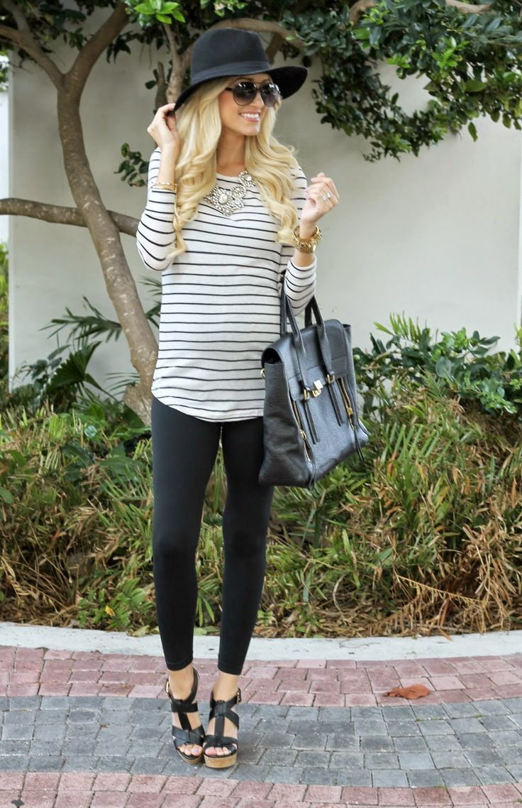 I lived in a stripey baggy tshirt when I was pregnant. Great go to!