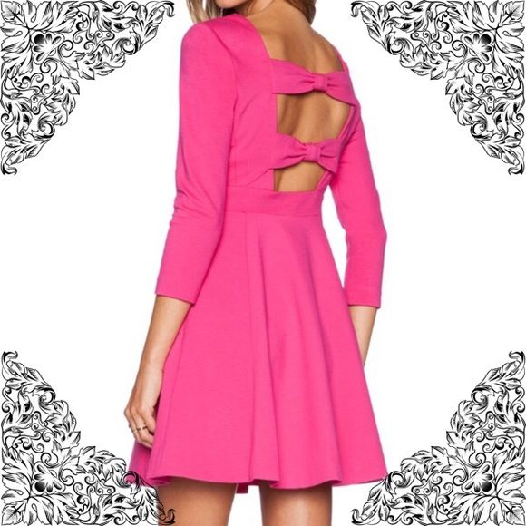 Today Only Sale❗️Kate Spade  Brand new with tags authentic Kate Spade sweetheart pink flirty back bow dress will turn heads!                                                                      -Boat neck, three quarter sleeves, two slit side pockets -Concealed side zip closure, cutout bow back, flared skirt -Viscose/polyamide/Elastane -Dry clean kate spade Dresses Mini