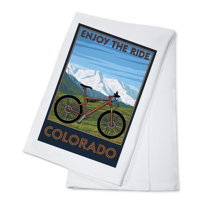 Colorado - Enjoy the Ride Mountain Bike LP Artwork (100% Cotton Towel Absorbent), Blue wash