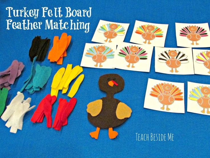 "turkey felt board- the patterns are a bit small for my toddlers to use, but it is a wonderful idea. I am going to try making the turkeys about 6-8"" tall with about the same size feathers."
