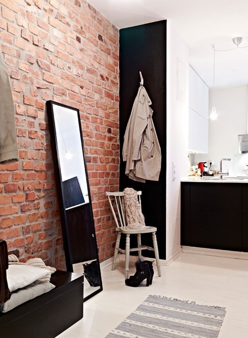 exposed (artificial) brick wall facing solid mate paint