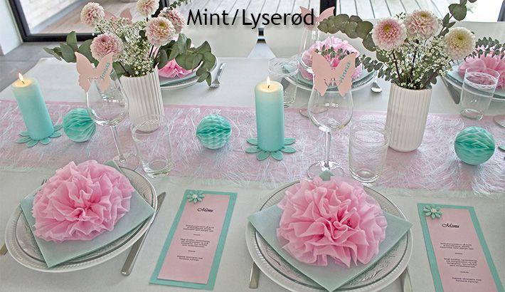 Borddækning i lyserøde farver. Ideer til borddækning lyserødt tema.