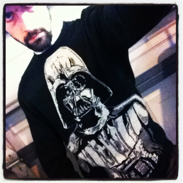 What's Ra wearing today?? Fukin rad Darth Vader sweater I bought in New York!