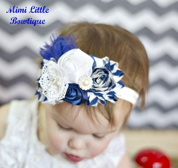 Navy  Blue shabby Chic Flower Headband- Flower Headband -Baby headband- Newborn headband- Infant headband- Toddler headband.