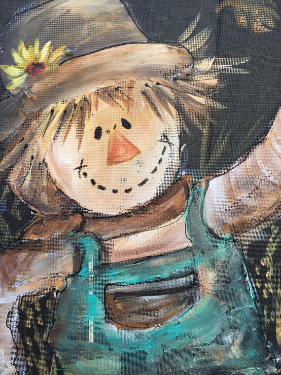 Scarecrow hand painting on window screenFall by RebecaFlottArts